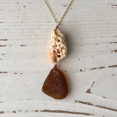 Caramel and coral sea glass necklace
