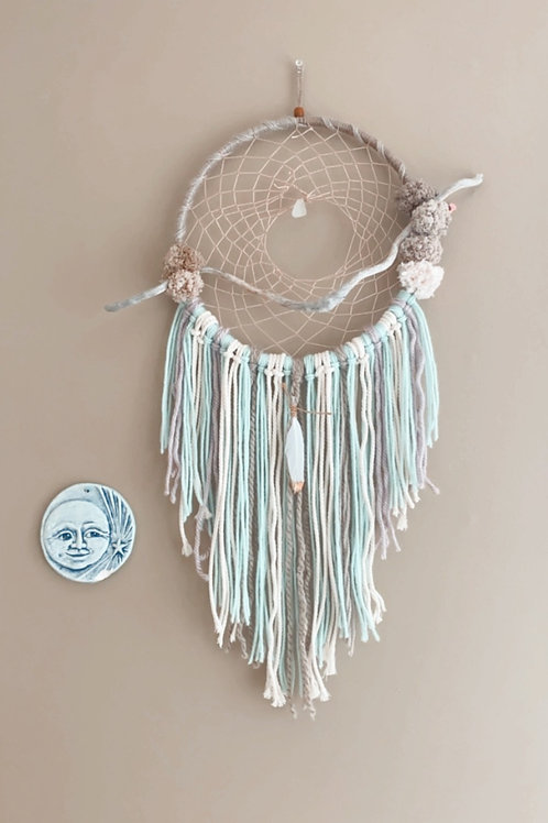 Sea glass and driftwood dream catcher