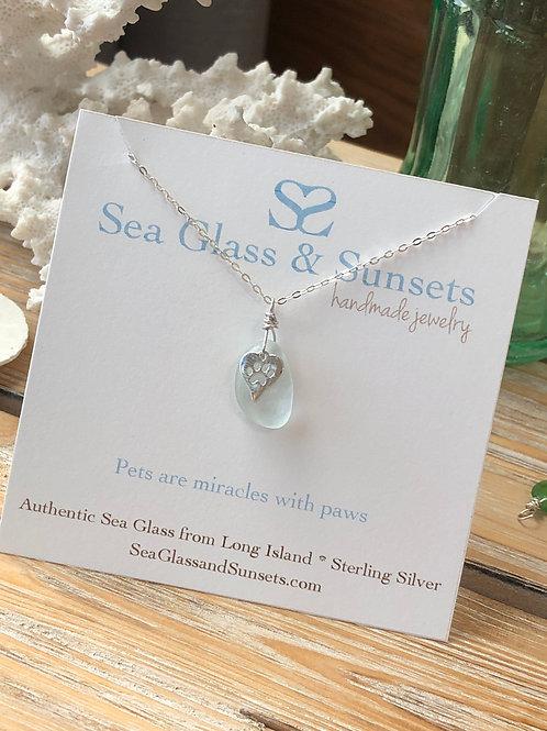 Light sea foam paw necklace