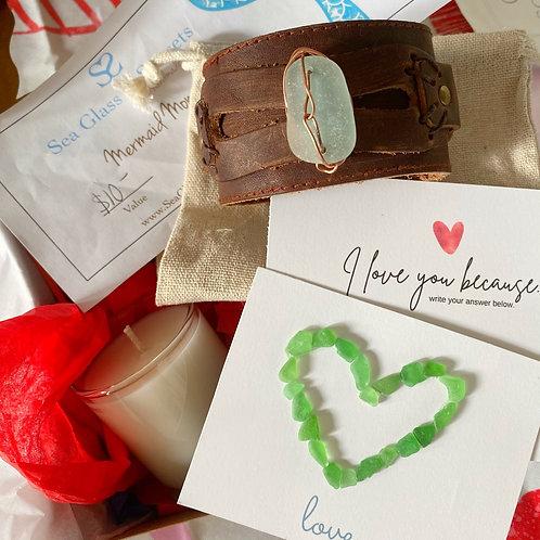 Leather Sea Glass Cuff Gift Box