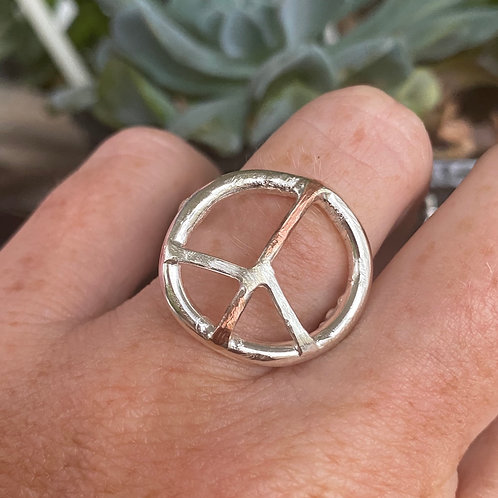 Peace sign sterling silver ring