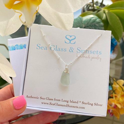 abstract sea foam sea glass necklace