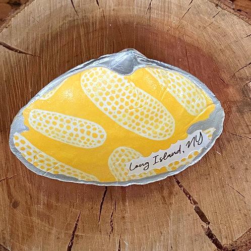 Large decoupage clam shell dish