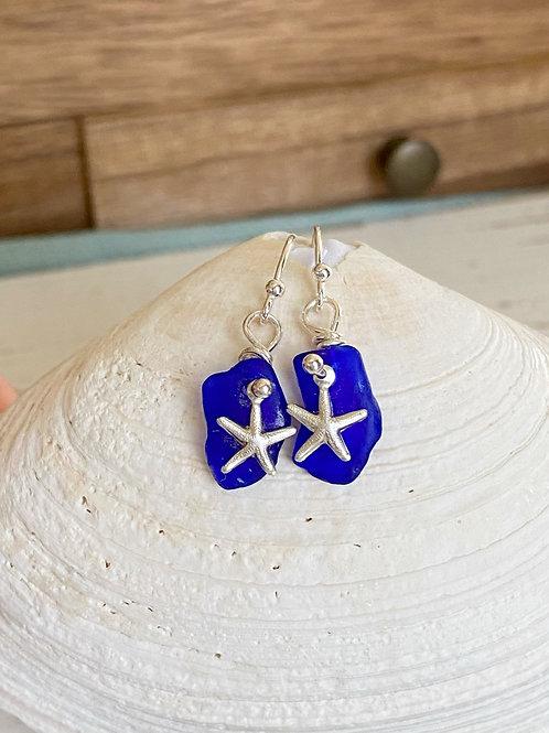 Cobalt sea glass sterling silver starfish earrings