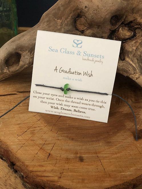 """Sea Glass """"A Graduation Wish"""" Wish Bracelet"""
