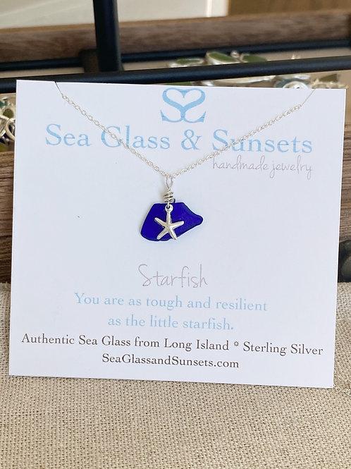 Cobalt blue sea glass starfish necklace