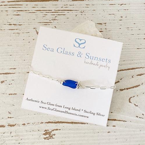 Adjustable sterling silver cobalt sea glass bracelet