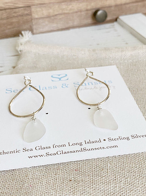 Clear sea glass earrings