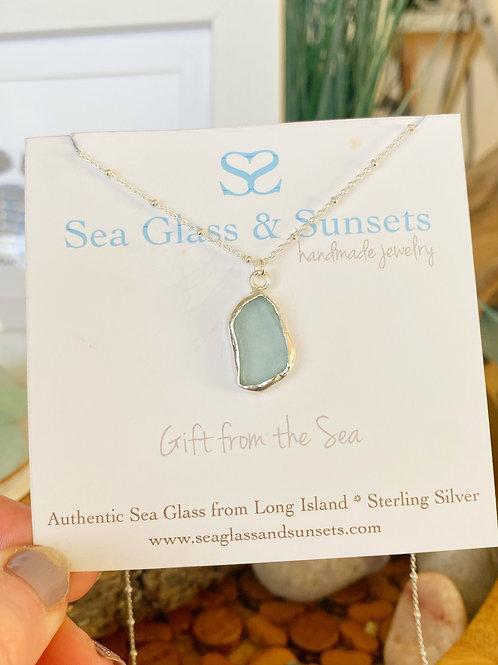 Aqua open bezel necklace