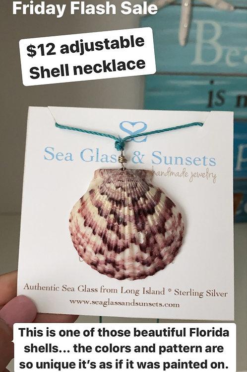 Calico Scallop Shell Necklace