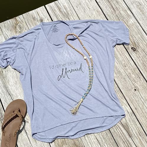 I'd Rather Be A Mermaid VNeck Flowy TShirt