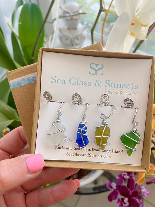 Sea Glass Wine Charms