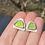 Thumbnail: Lime green sea glass stud earrings