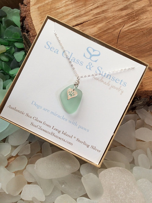 Cucumber sea glass paw necklace
