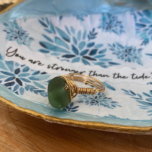 Green Wire wrapped sea glass ring