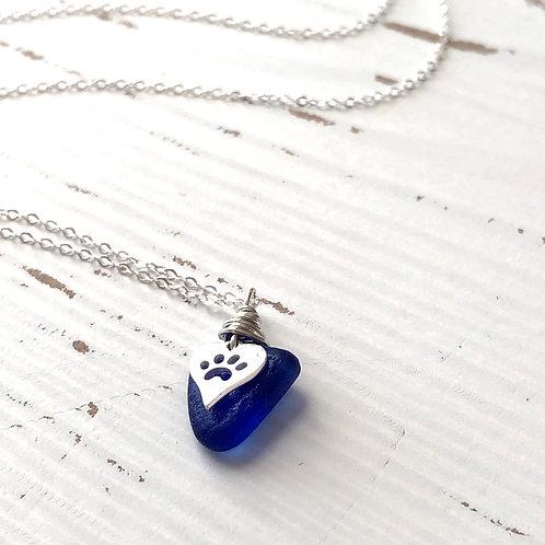 Cobalt blue sea glass paw necklace