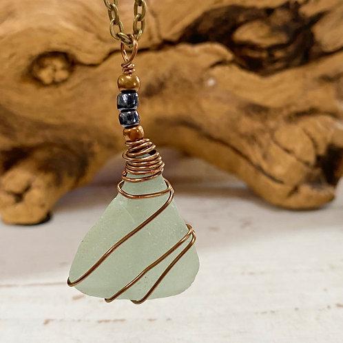 Antiqued Brass Sea Glass Sea foam necklace