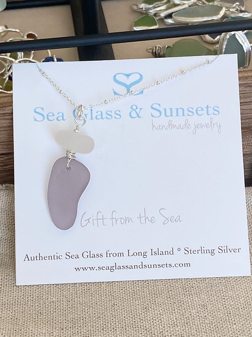 Large  abstract Lavender Purple Sea Glass Necklace