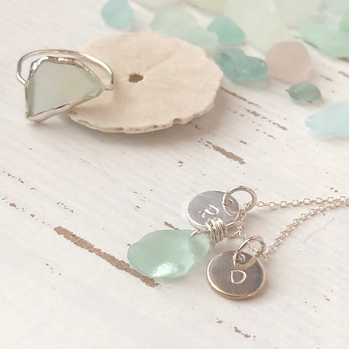 Initials  Sea Glass Necklace