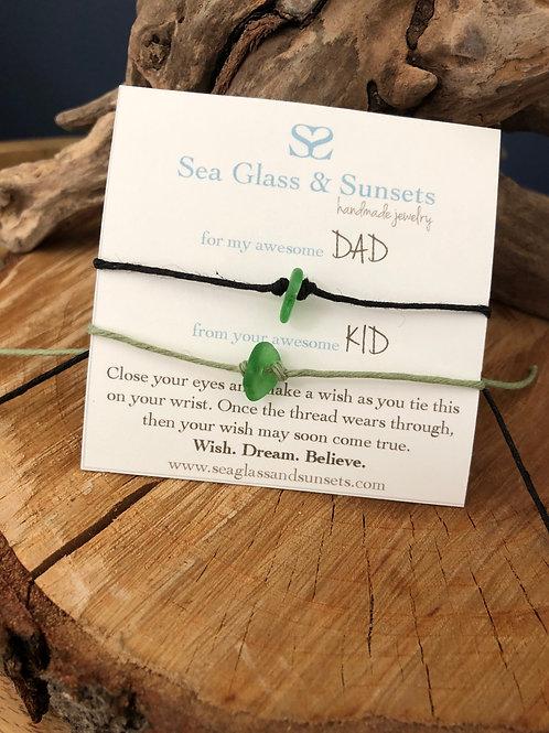 "Sea Glass ""for my awesome DAD"" Wish Bracelet"