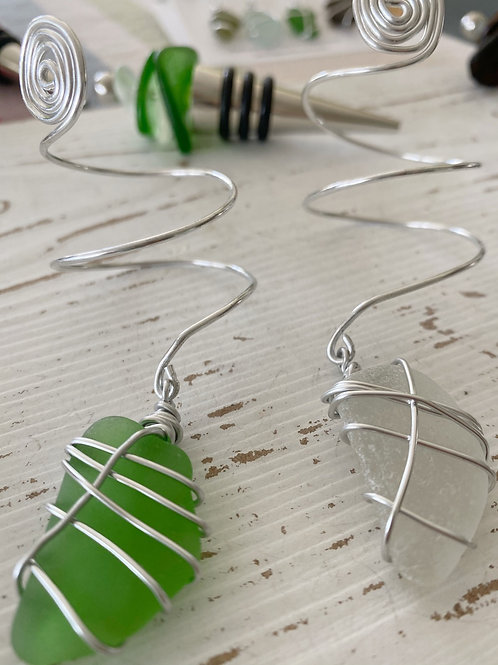 Sea Glass wine bottle charms