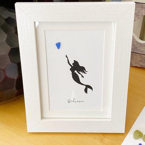 Mermaid heart silhouette framed art