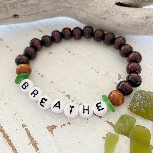 BREATHE Wooden Sea glass word bracelets