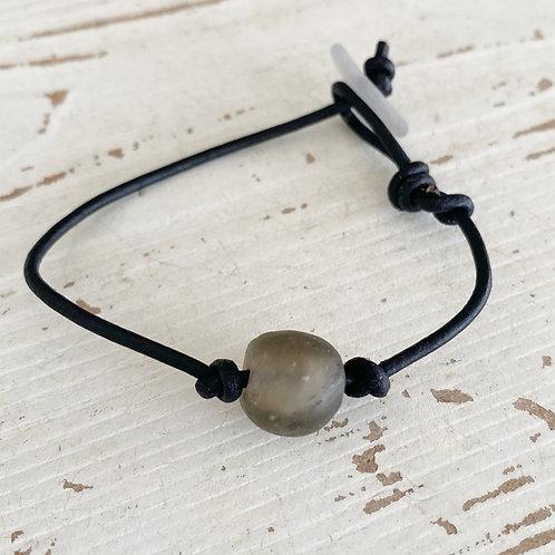 Leather Cord Sea Glass Bracelet
