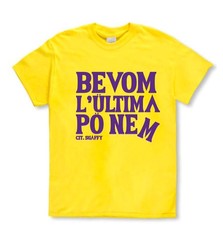 """T-shirt """"Bevom l'ültima"""" gialla"""