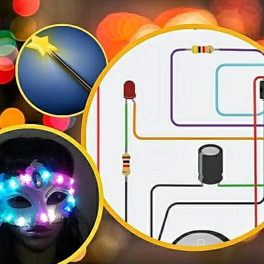 איך עובדת מסיכה מאירה לפורים? - מעגלים חשמליים באמצעות טינקרקאד - סדנה מקוונת
