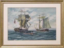Capture of the Brig Nancy by Schooner Lee-framed