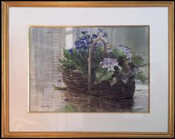 Basket by the Blinds, framed
