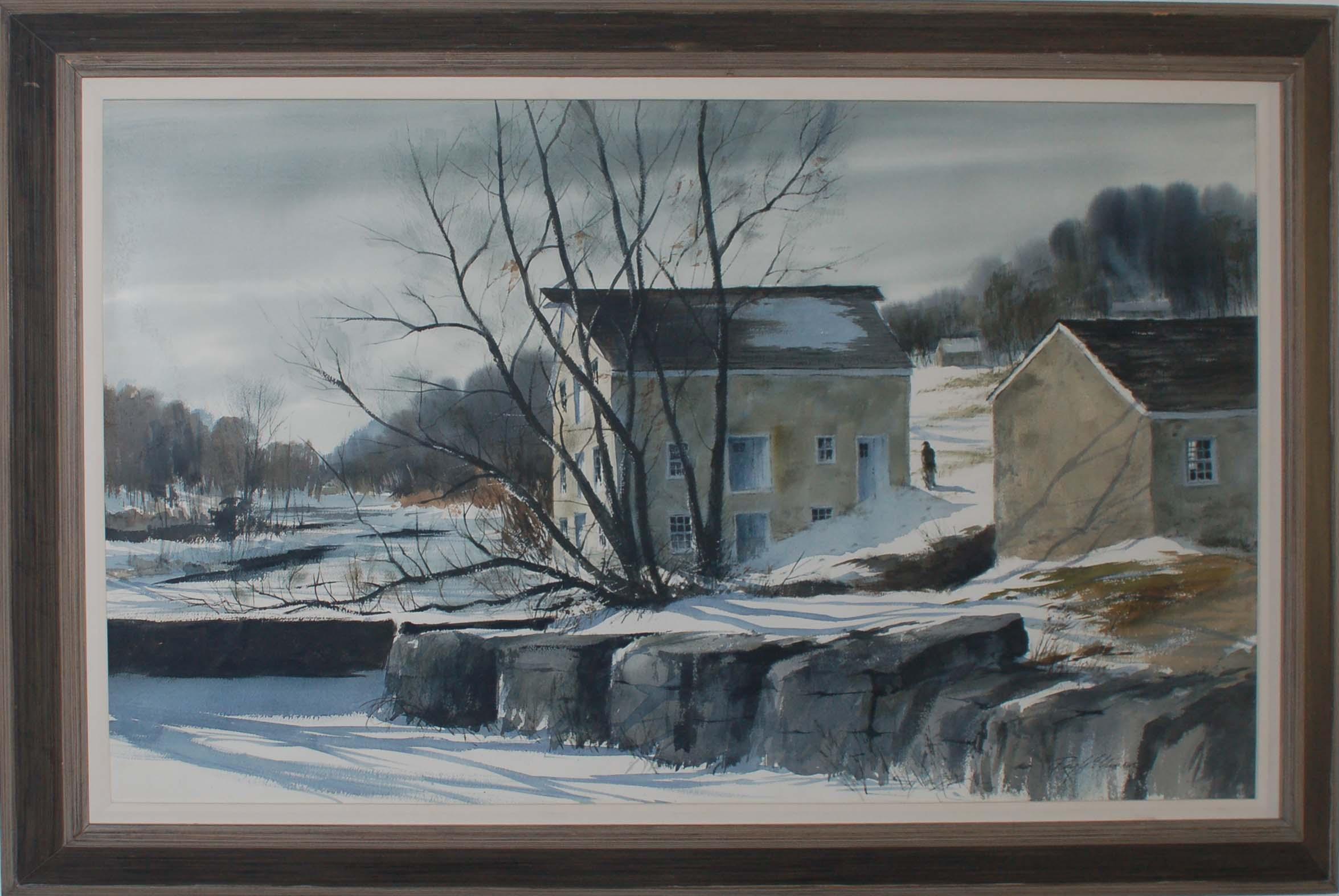 Mill in Winter-framed