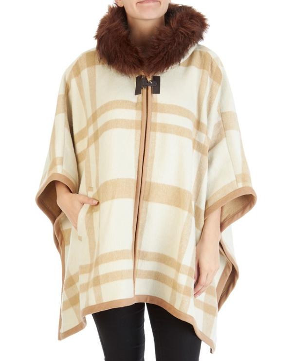 plaid faux fur wool cape