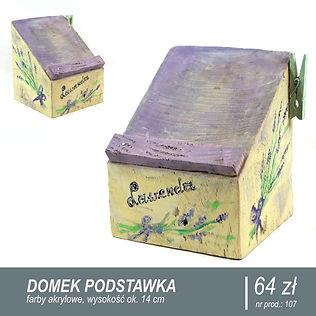 Podstawka pod telefon komórkowy zrobiona z kawałka starego drewna. Ręcznie malowana farbami akrylowymi w kolorze fioletowym, z uchwytem na notatki z boku. Na bokach i na froncie namalowane gałązki lawendy.