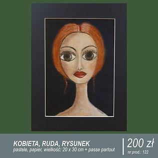 Rysunek twarzy kobiety, ruda, duże brązowe oczy, wykonany pastelami, formatu A4, oprawiony w passe-partout