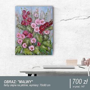 Duży obraz namalowany farbami olejnymi przedstawiający malwy w kolorach różowym i ciemnobrązowym. Idealny do dekoracji wnętrz, pomysł na prezent na parapetówkę i na nowe mieszkanie.