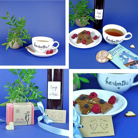 """Produkty z zestawu prezentowego """"mazurskiego malinowego"""". Porcelanowa, ręcznie malowana filiżanka 250 ml, w komplecie ze spodkiem.  Herbata owocowa (hibiskus, malina, aronia, rodzynki)  z mazurskiej herbatowni. Czekolada z mazurskiej manufaktury, o nazwie """"Borówką trzeba się urodzić"""" (czekolada mleczna z suszoną borówką). Syrop malinowy do herbaty, w szklanej butelce. Ręcznie robione w warmińskiej pracowni naturalne """"Mydło dla Niej"""", owinięte w etykietę z ekologicznego papieru."""