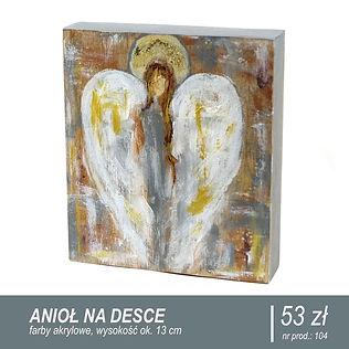 Anioł malowany farbami akrylowymi na starej desce.