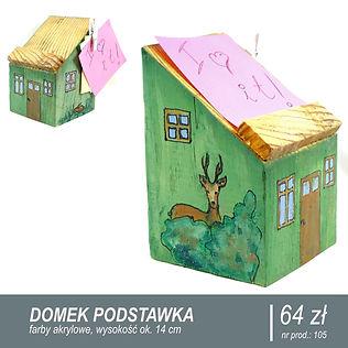 Podstawka pod telefon ze starego drewna. Pomalowana w motywy mazurskiego lasu, grafika leśnego domku i jelonka.