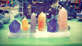 Crystal towers and selenite slab charger