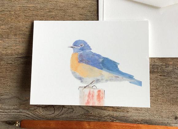 LITTTLE BLUE blue bird blank card