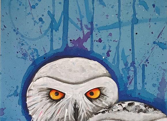 12 X 16 acrylic on canvas NITE OWL
