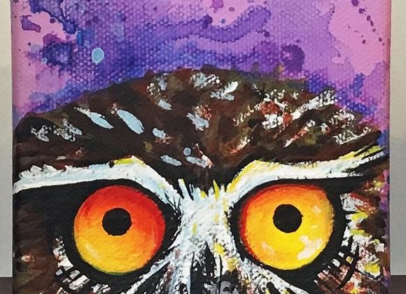 4x4 inch cube, acrylic on canvas by NITE OWL