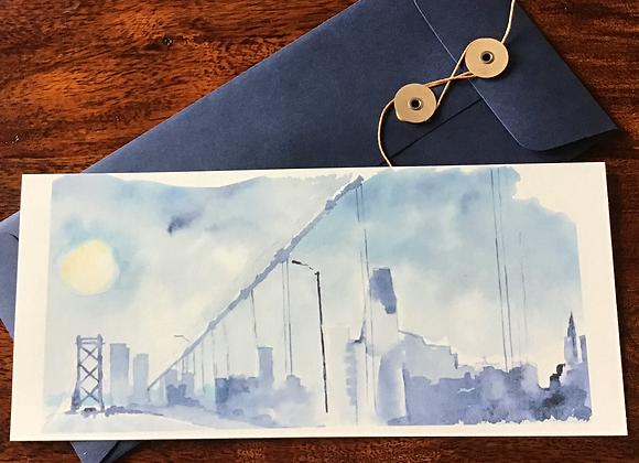 SAN FRANCISCO SKYLINE flat notecard
