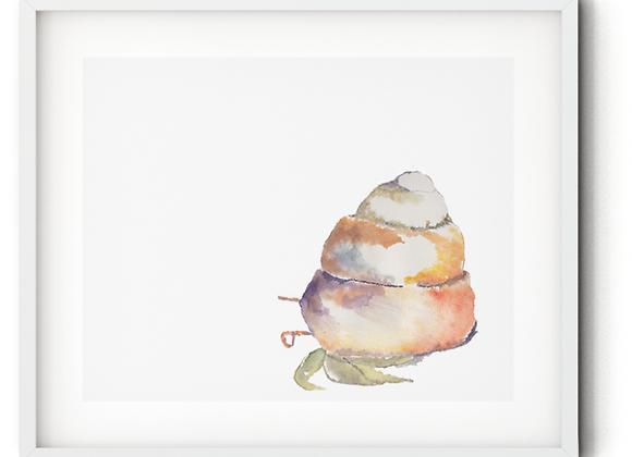 Watercolor Caracol - hermit crab Print