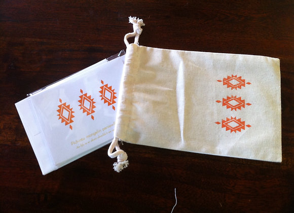 Letterpress Notecard Gift Set in hand print muslin bag