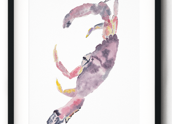 """Watercolor """"Red Handed"""" Crab Print"""