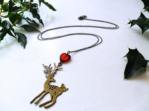 Running of The Deer Necklace in Antique Bronze