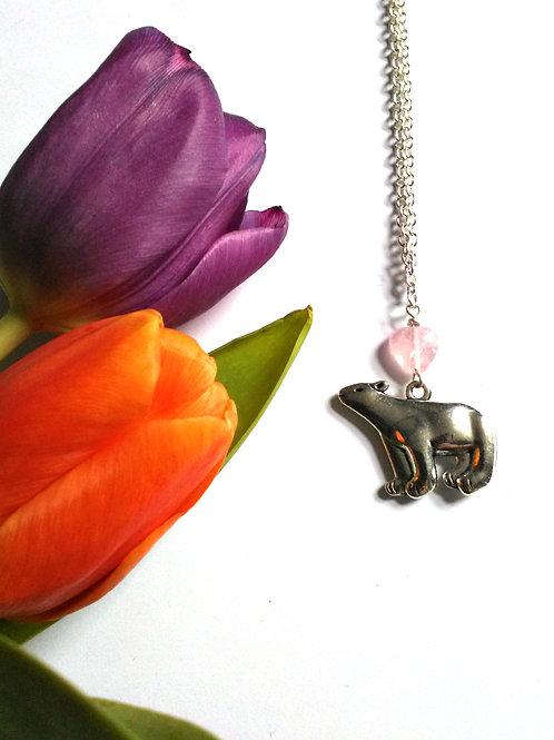 Rose Quartz Mama Bear Necklace
